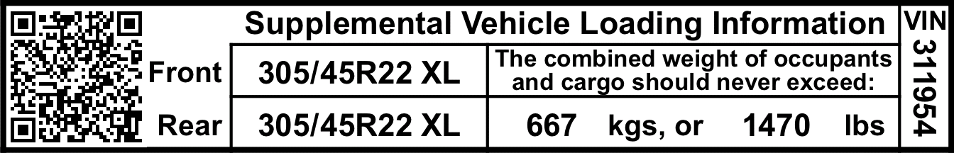 Custom Fitment Supplemental Weight Label
